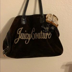 Juicy couture brown velour bag with flower patch